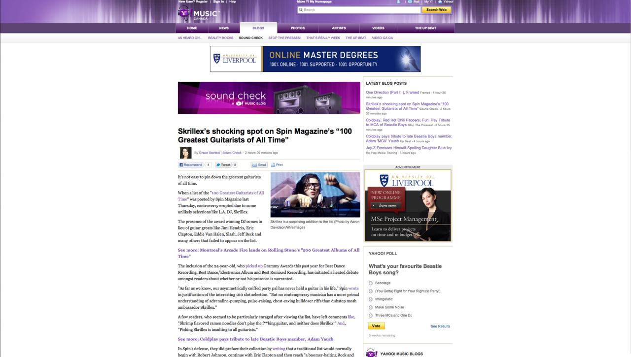 Skrillex Yahoo Canada