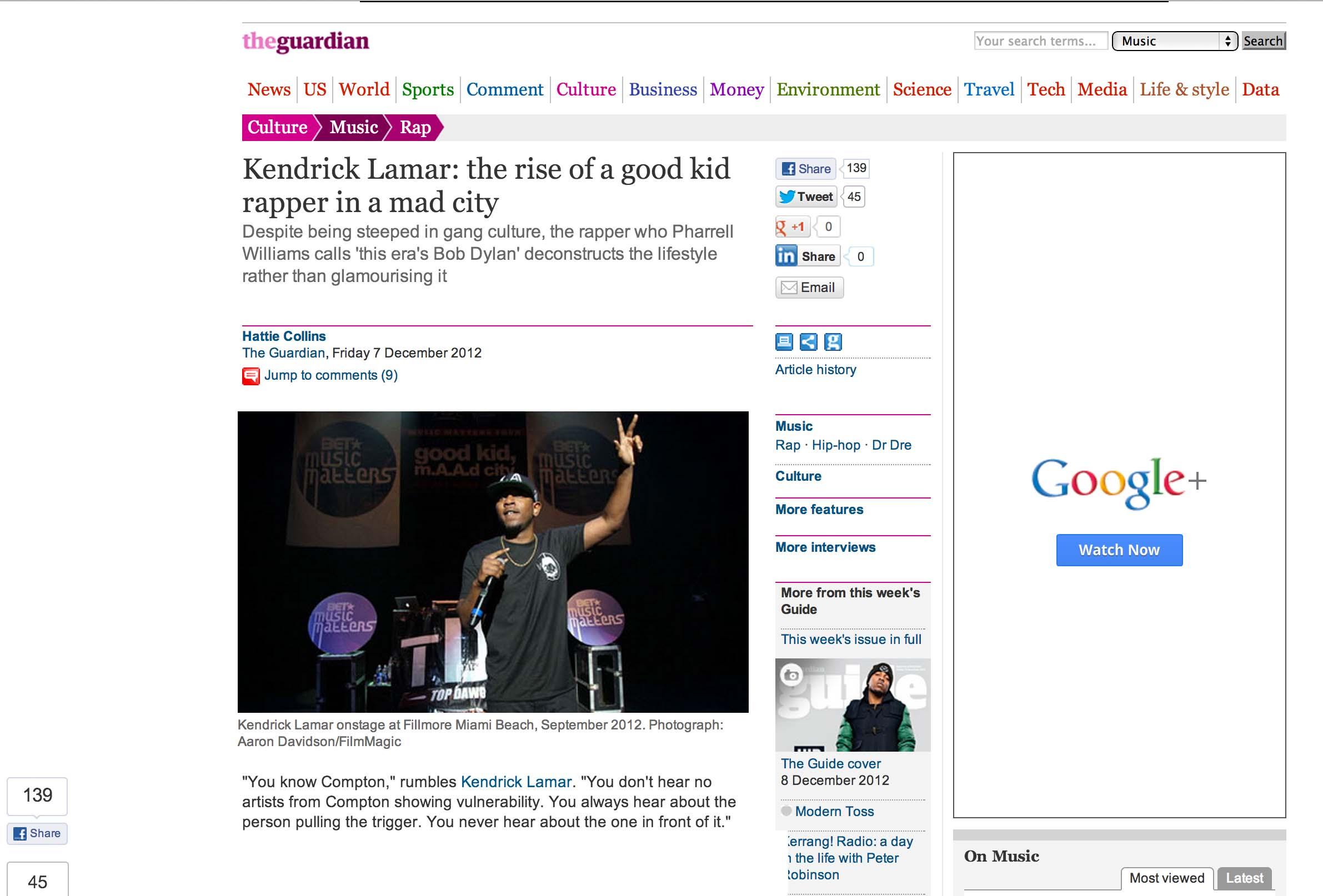 Kendrick Lamar Guardian miami