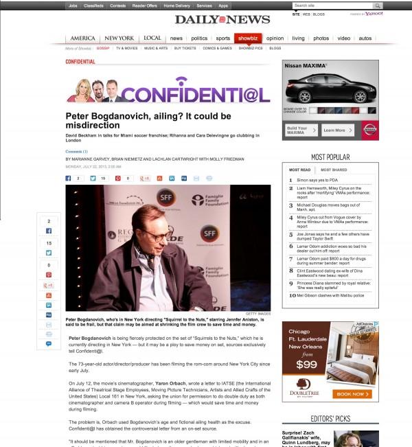 Peter Bogdanovich NY Daily News miami