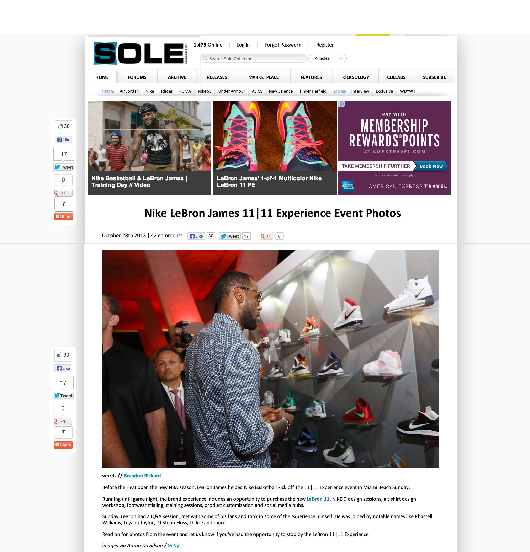 miami Solecollector.com Lebron James 1111 Experience