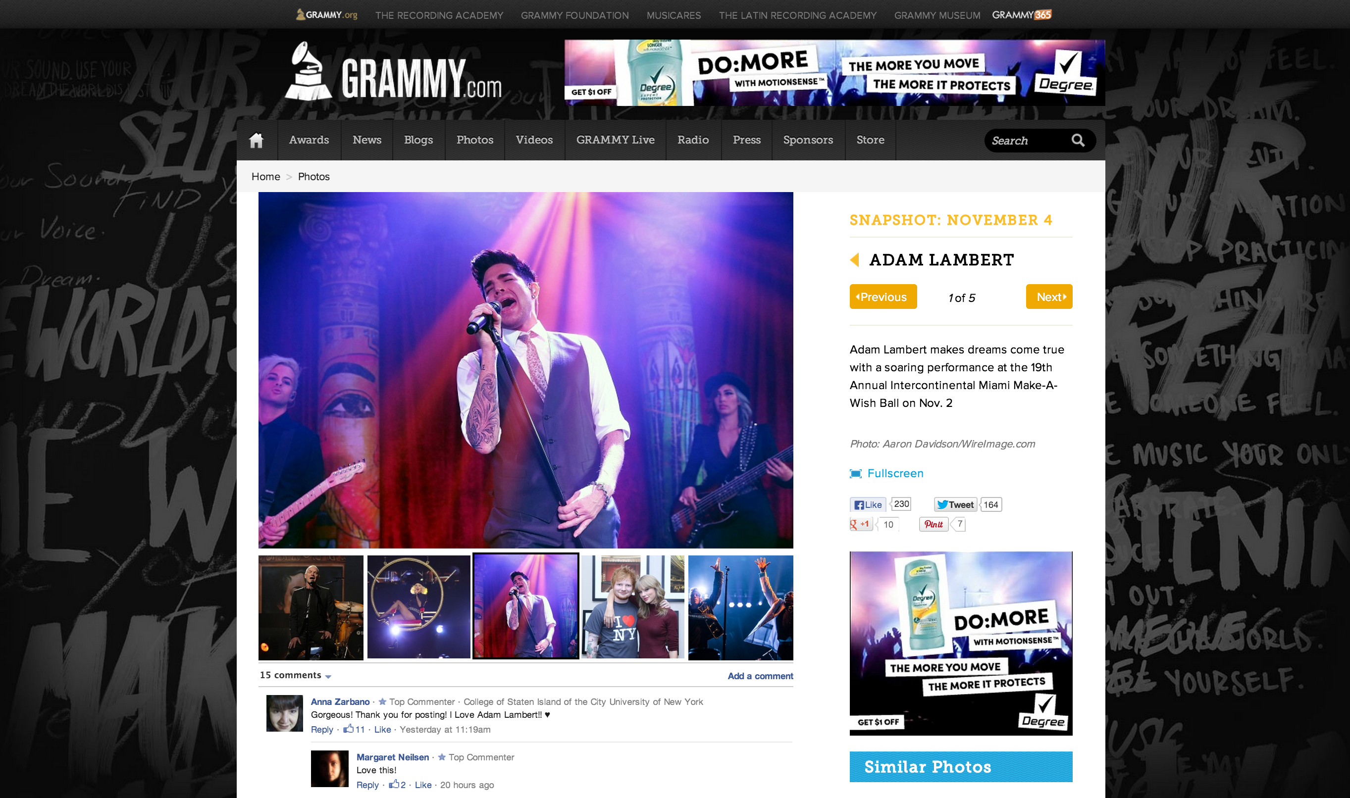 Adam Lambert miami grammy