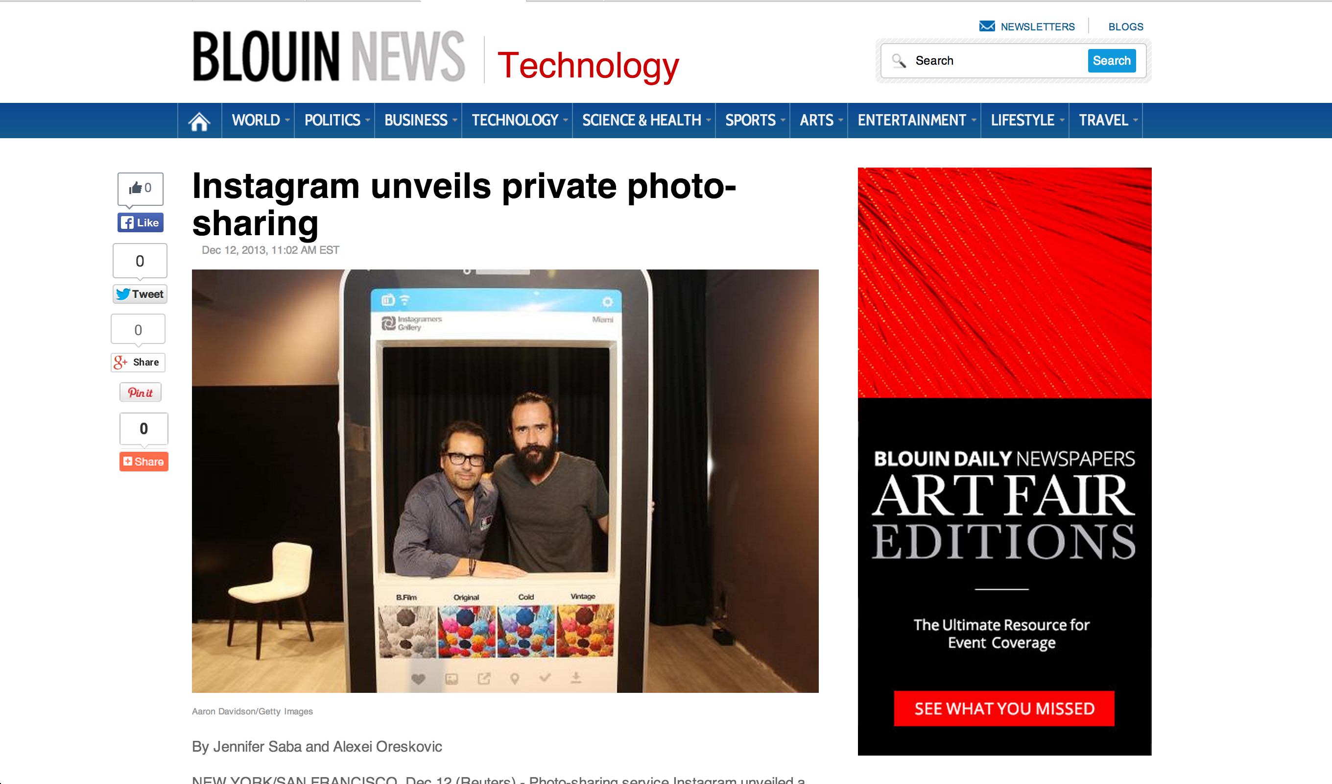 Blouin News Instagram unveils private photo-sharing