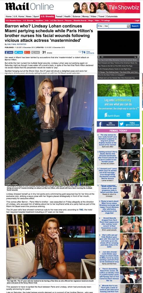 Lindsay Lohan Daily Mail miami