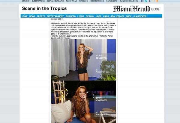 Lindsay Lohan Miami Hearld miami