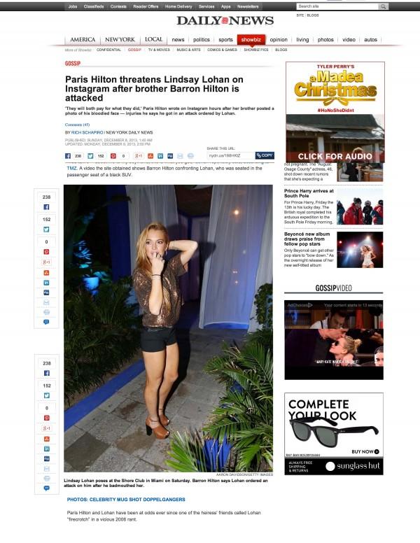 Lindsay Loahan NY Daily News miami