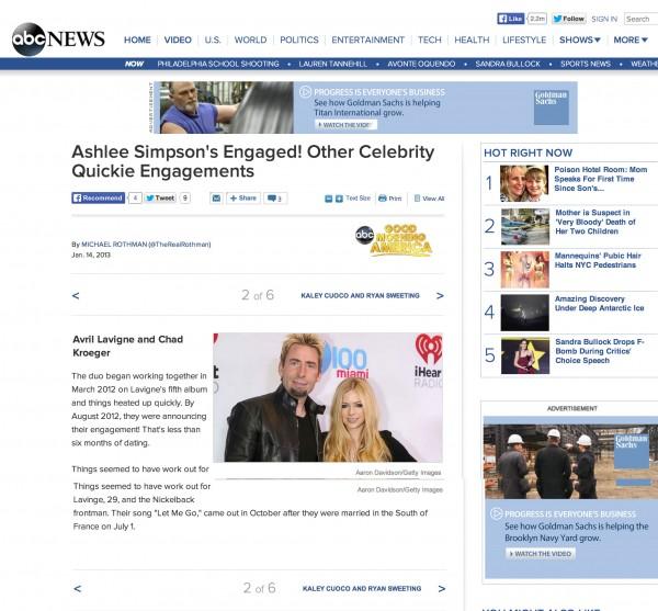 Avril Lavigne and Chad Kroeger ABC Miami