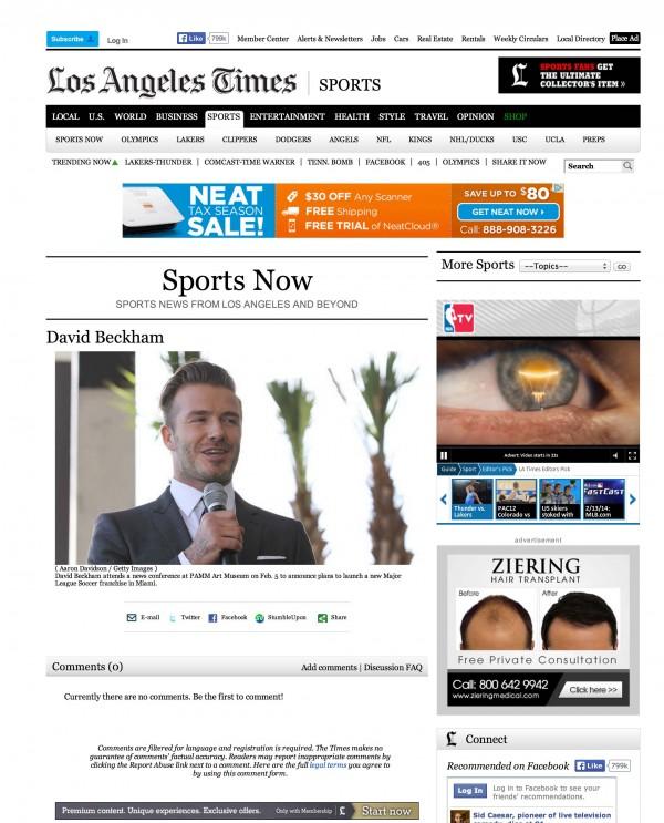 David Beckham LA Times miami