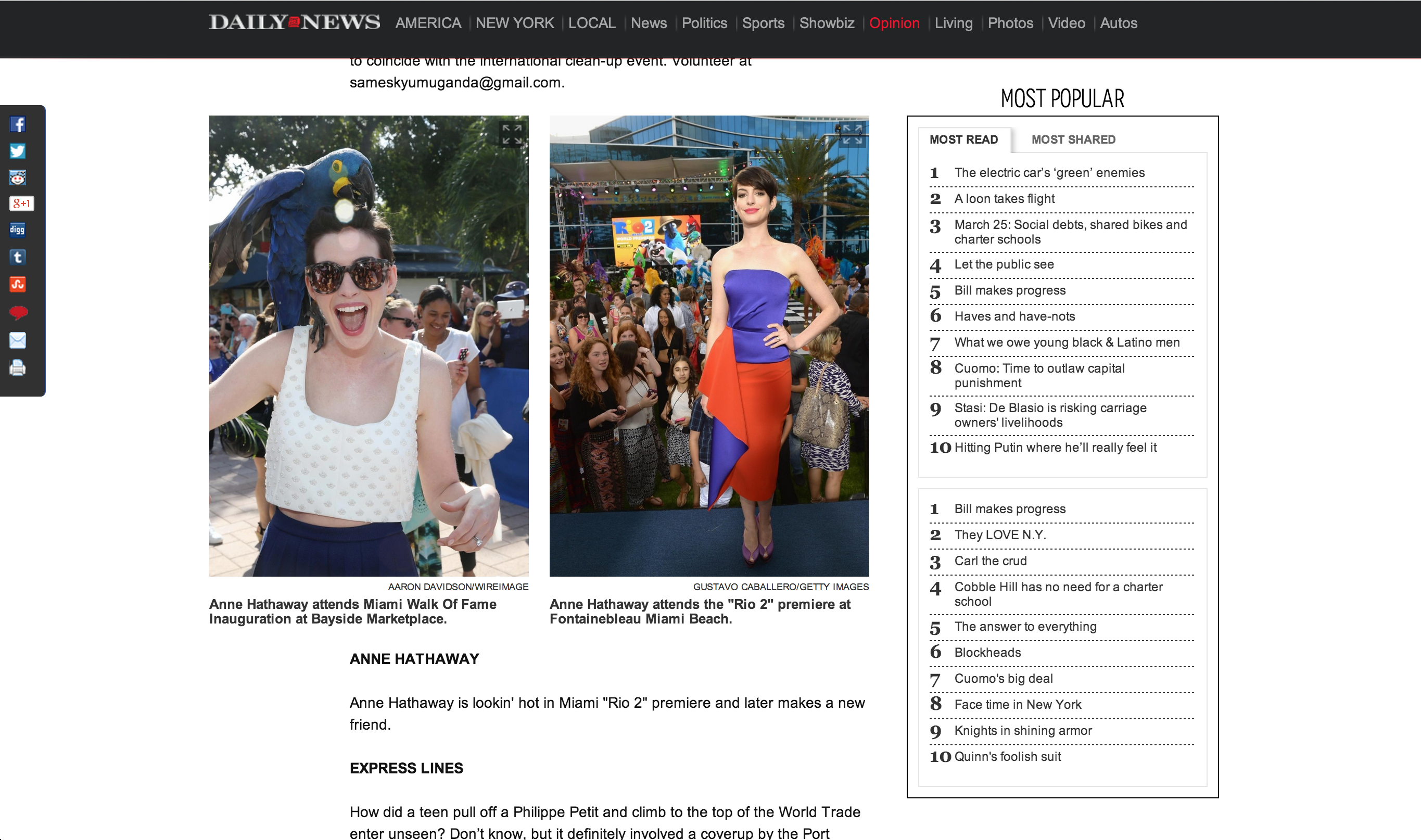 Anne hathaway New York Daily News