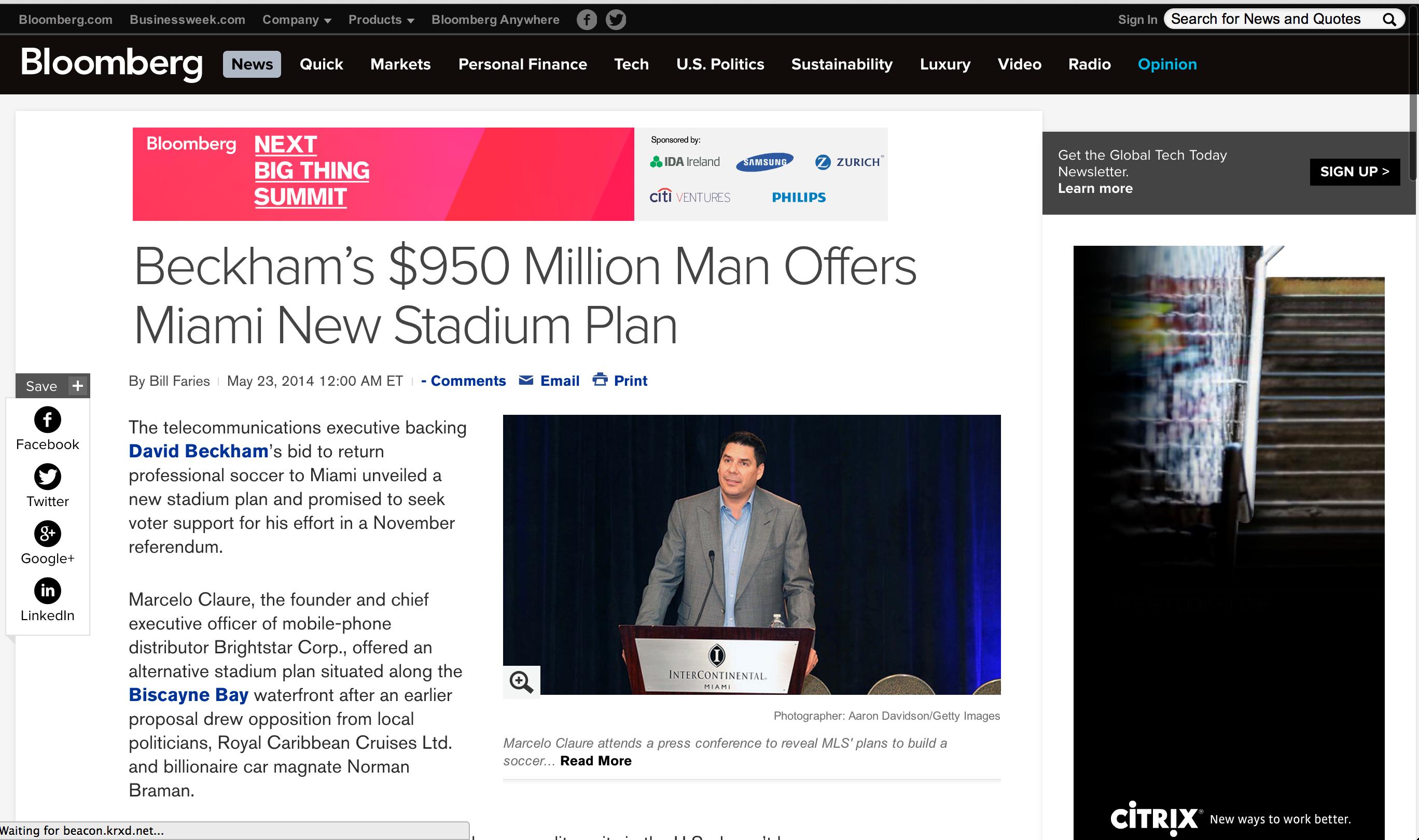 Bloomberg Beckham's $950 Million Man Offers Miami New Stadium Plan