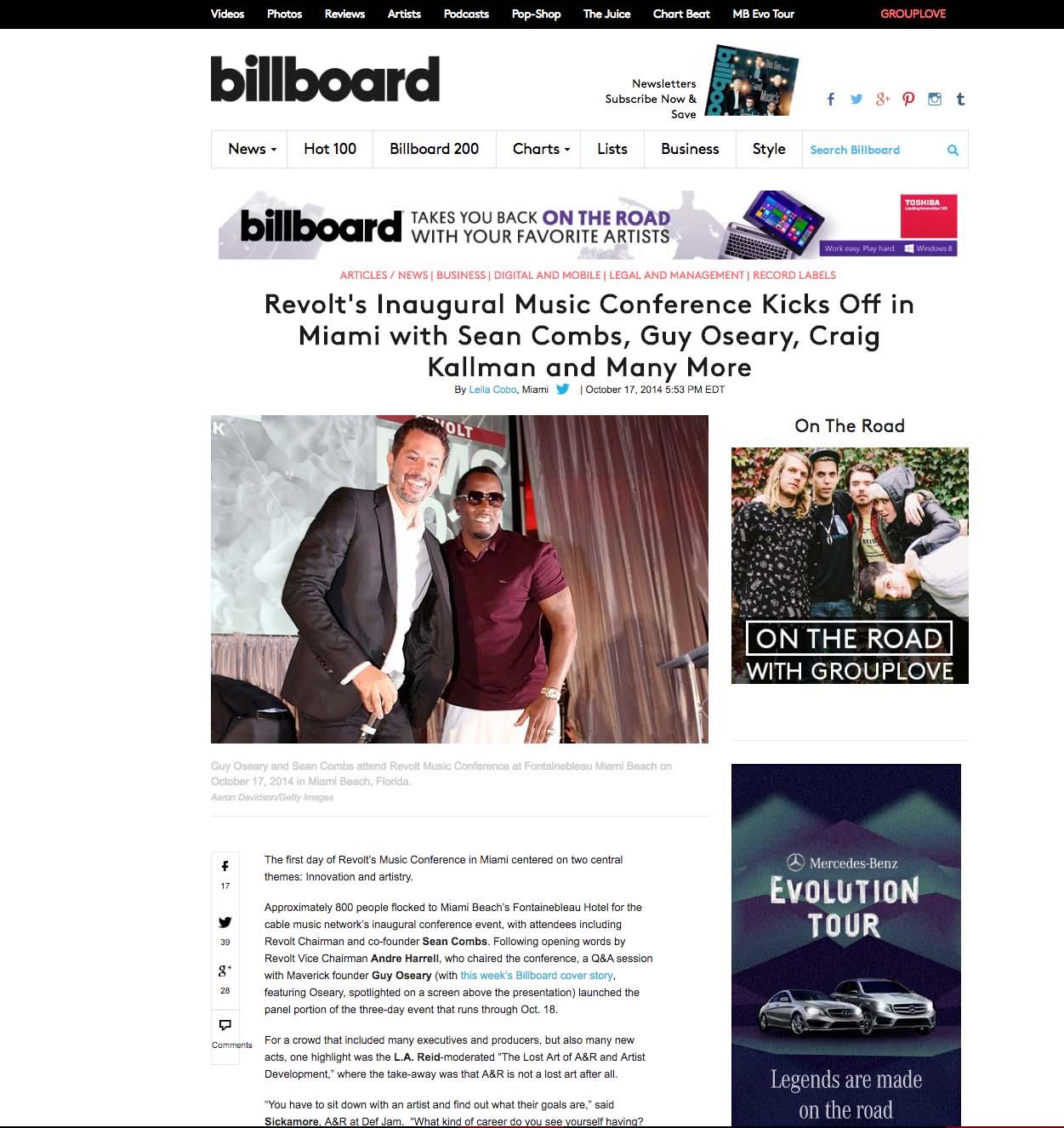 Bilboard.com Guy Oseary and Sean Combs
