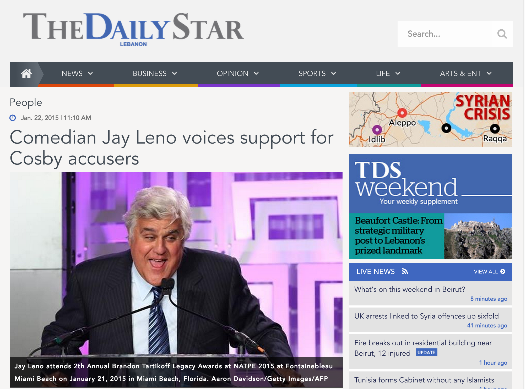 Jay Leno in Daily Star Lebanon