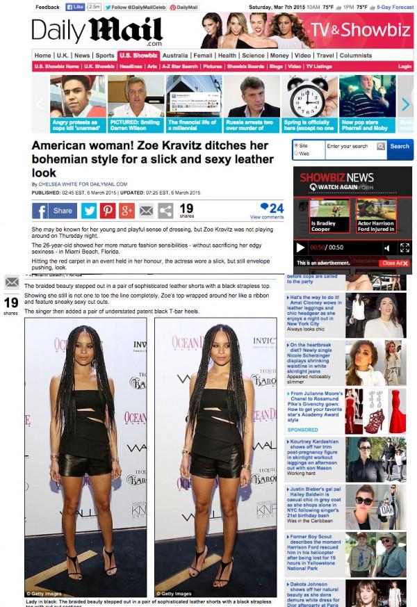 Zoe Kravitz Daily Mail Miami