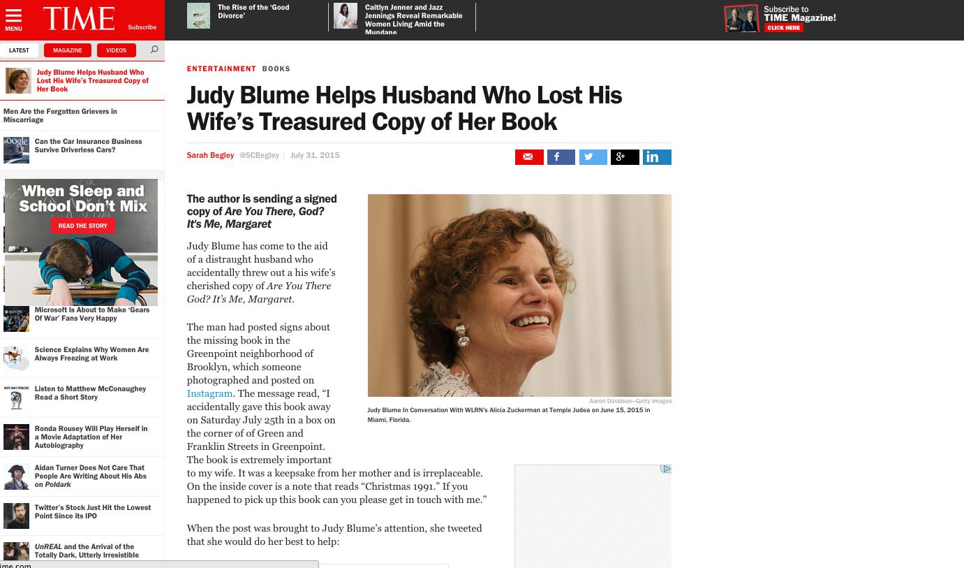 Judy Blume Time