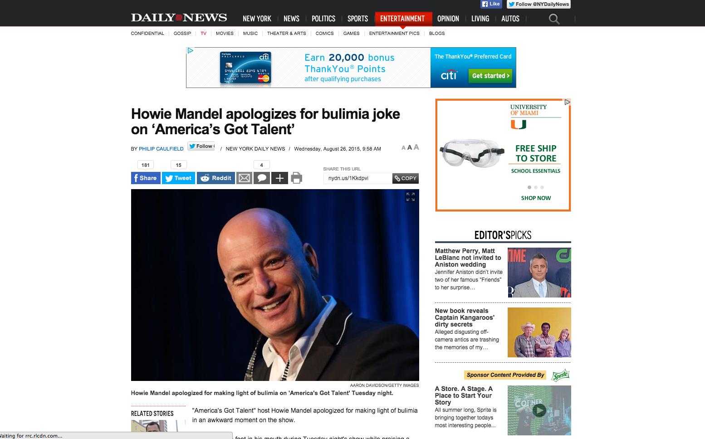 Howie Mandel NY Daily News