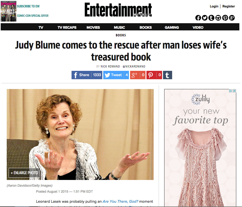 Judy Blume Entertainment Weekly