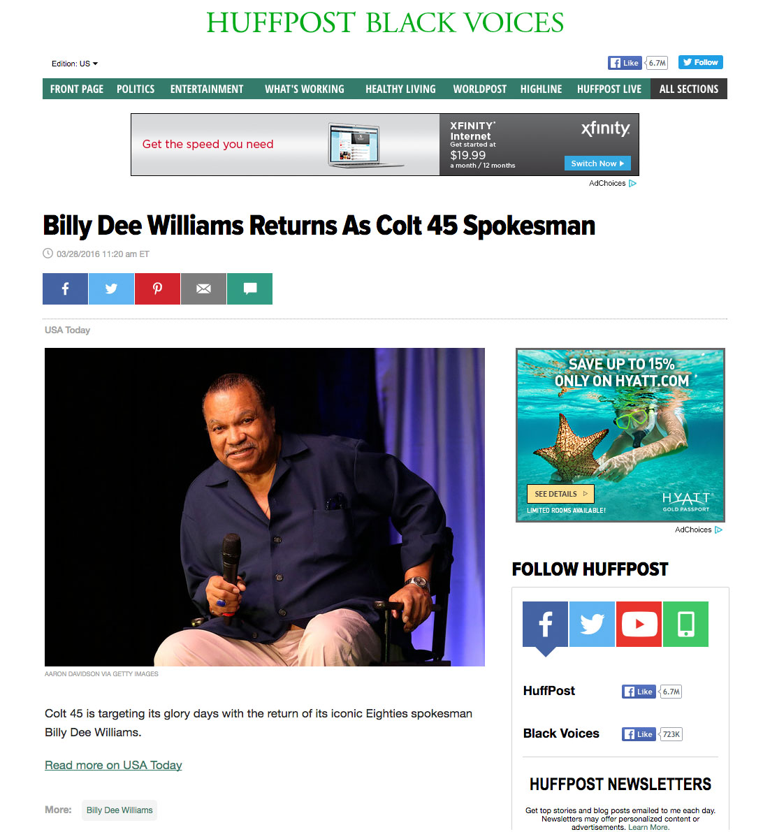 Billy Dee Williams Huffington Post
